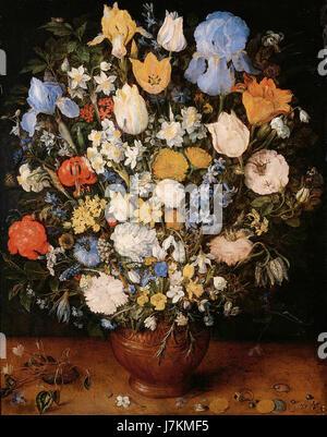 Jan Bruegel (I)   Bouquet of Flowers in a Ceramic Vase - Stock Photo