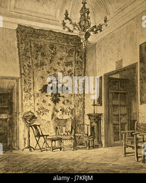 Room of Philip II (1527-1598), king of Spain between 1556-1598, in the Royal Site of San Lorenzo de El Escorial. - Stock Photo