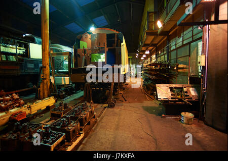 Inside of the engine shed on the North Yorkshire Moors Railway NYMR - Stock Photo