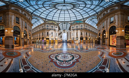 MILAN, ITALY - JANUARY 13, 2015:  Galleria Vittorio Emanuele II in Milan. It's one of the world's oldest shopping - Stock Photo