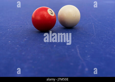 Pool Billiards Balls On A Blue Table - Stock Photo