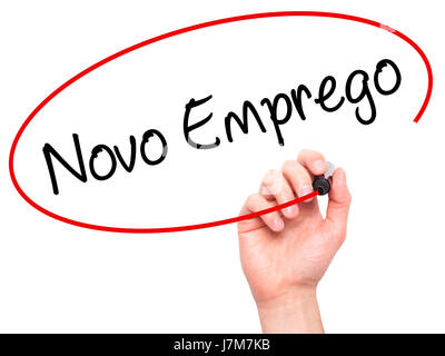 Man Hand writing  Novo Emprego (New Job in Portuguese)   with black marker on visual screen. Isolated on white. - Stock Photo