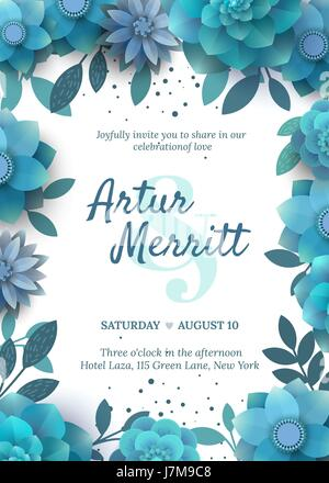 Vector invitation with floral elements turquoise. - Stock Photo
