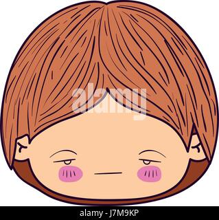 colorful caricature kawaii face little boy with facial expression nervous - Stock Photo