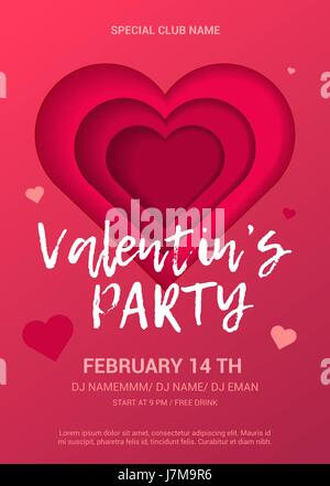 Valentine's Day Party Flyer. - Stock Photo