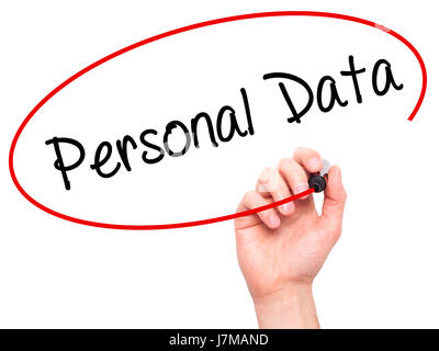 Man Hand writing Personal Data  with black marker on visual screen. Isolated on background. Business, technology, - Stock Photo