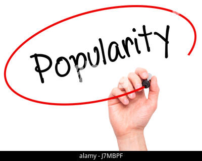 Man Hand writing Popularity with black marker on visual screen. Isolated on background. Business, technology, internet - Stock Photo
