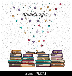 white background with sparkles of knowledge stack of books - Stock Photo