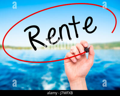Man Hand writing Rente (Pension in German) with black marker on visual screen. Isolated on background. Business, - Stock Photo