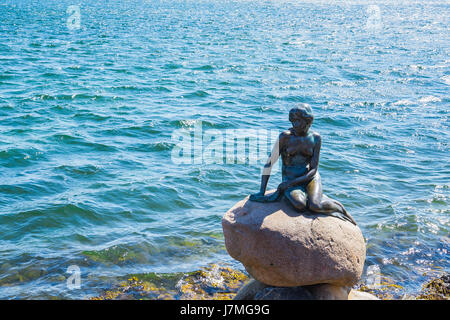 The monument of the Little Mermaid in Copenhagen, Denmark. - Stock Photo