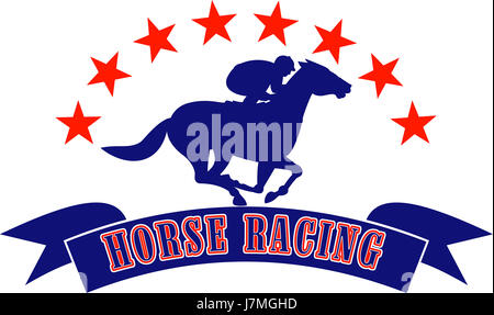 horse racing illustration rider equestrian jockey thoroughbred race horse male - Stock Photo