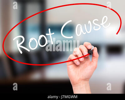 Man Hand writing Root Cause  with black marker on visual screen. Isolated on office. Business, technology, internet - Stock Photo