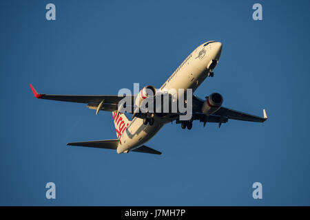 Virgin Australia Boeing 737 on Final approach to Sydney Airport on Tuesday 23 May 2017 - Stock Photo