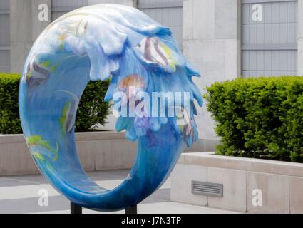 United Nations, New York, USA, May 24 2017 - In preparation for United Nations World Oceans Day on June 8th, a public - Stock Photo