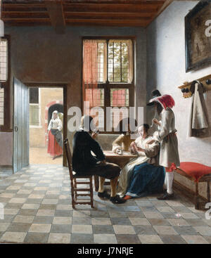 Card Players in a sunlit Room, by Pieter de Hooch - Stock Photo