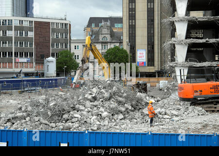Demolition of derelict buildings on construction site at Wood Street carpark near station Central Square, Cardiff - Stock Photo