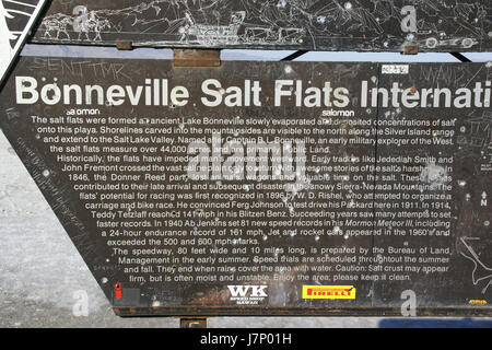 2012.10.02.155406 Sign speedway entrance Bonneville Salt Flats Utah - Stock Photo