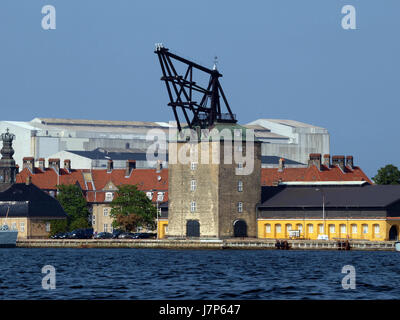 1742 build crane, used for mounting masts to large sailing vessels. Copenhagen, Denmark, Mastekranen, Holmen. Copenhagen, - Stock Photo
