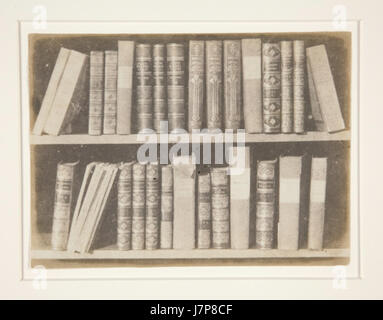 A Scene in a Library Plate VIII from The Pencil of Nature by William Henry Fox Talbot - Stock Photo