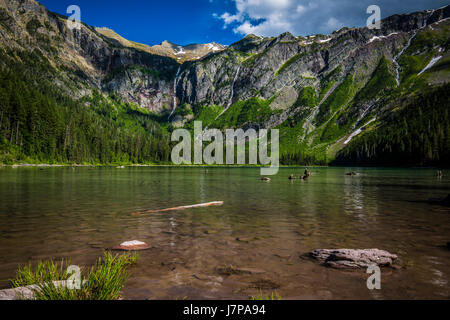 avalanche lake / glacier national park landscape water views - Stock Photo
