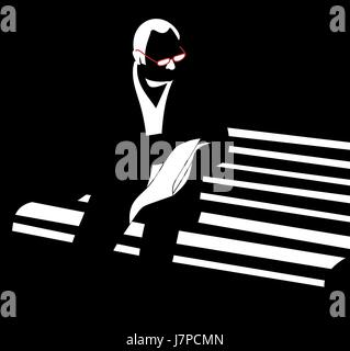 man with glasses reading newspaper sitting on bench vector silhouette - Stock Photo