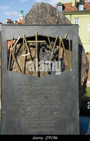 Katyn Memorial dedicated to the victims of the Katyn Massacre in 1940 in Warsaw, Poland © Wojciech Strozyk / Alamy Stock Photo