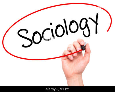 man hand writing sociology black marker on visual screen  stock photo · man hand writing sociology black marker on visual screen isolated on background business