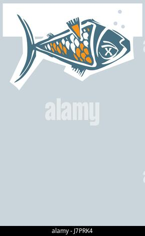 Woodcut style dead fish floating belly up in a fish tank with bubbles. - Stock Photo