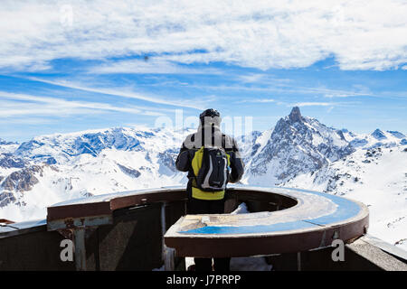 Sommet de Saulire, Meribel, Three Valleys, French Alps, France. Summit of Saulire. 2700m. Panoramic view with a - Stock Photo