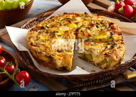 slow cooked courgette mint frittata - Stock Photo