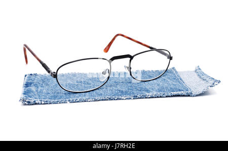 object isolated jeans trousers jean trousers spectacles glasses eyeglasses case - Stock Photo