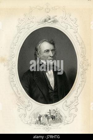 Antique c1860 engraving, Zachary Taylor. Zachary Taylor (1784-1850) was the 12th President of the United States, - Stock Photo