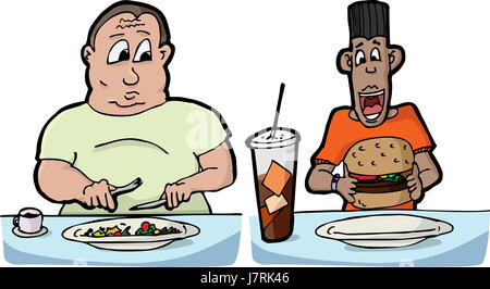 men man hungry diet thick wide fat eating eat eats cup men man health big large - Stock Photo