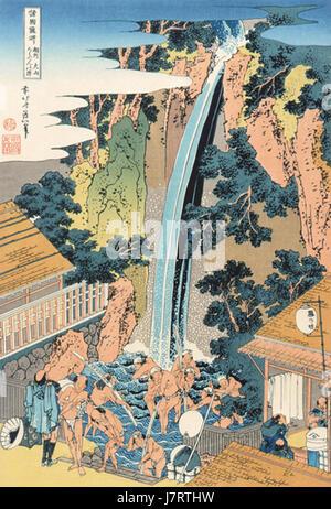 A Tour of the Waterfalls of the Provinces Soushuu Ooyama Rouben No Taki - Stock Photo