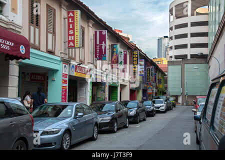 old colourful buildings in little india street,singapore - Stock Photo
