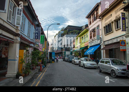 colourful buildings in little india street,singapore - Stock Photo