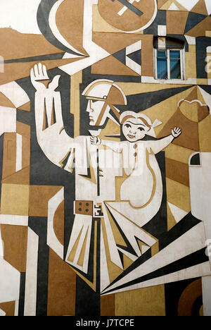 travel,art,azerbaijan,soviet,street,road,caucasus,mural,baku - Stock Photo