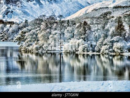 Winter scene of Derwent Water taken from Fria's Crag near Keswick,with Derwent Isle - Stock Photo
