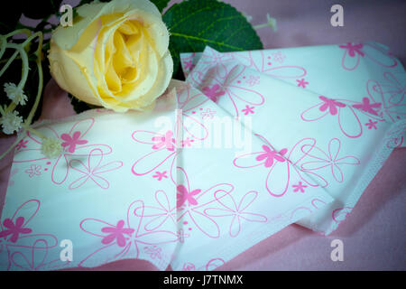 Sanitary pad package for woman hygiene protection - Stock Photo