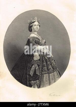 Portrait of Queen Victoria & signature - Stock Photo
