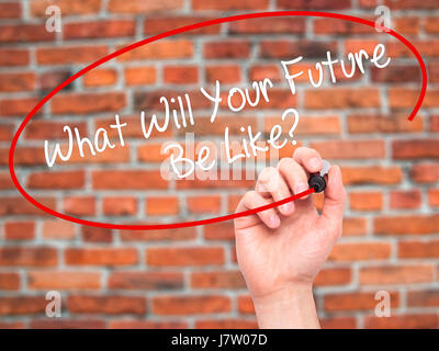 Man Hand writing What Will Your Future Be Like? with black marker on visual screen. Isolated on bricks. Business, - Stock Photo