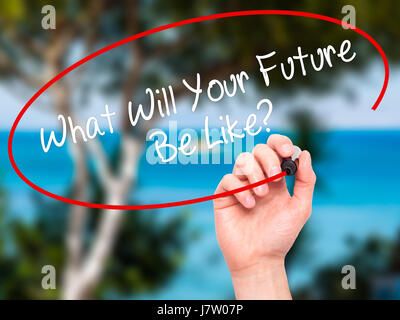 Man Hand writing What Will Your Future Be Like? with black marker on visual screen. Isolated on nature. Business, - Stock Photo