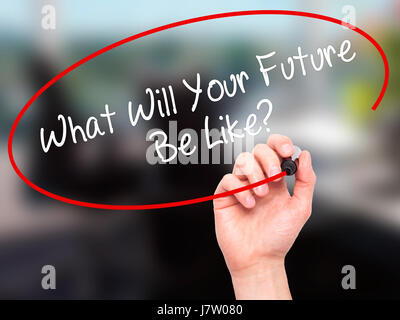 Man Hand writing What Will Your Future Be Like? with black marker on visual screen. Isolated on office. Business, - Stock Photo