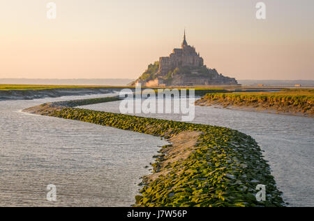 Mont Saint Michel shots from hydraulic dam over the Couesnon river Mont St Michel - Stock Photo