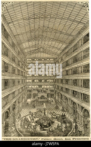 Antique c1875 engraving, The Grandcourt of the Palace Hotel, San Francisco, California. The Palace Hotel is a landmark - Stock Photo