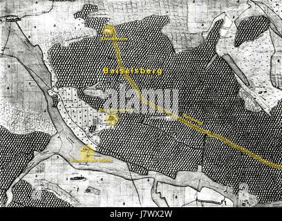 1684 Kiesersche Forstkarte 98 Spilberg beschriftet - Stock Photo