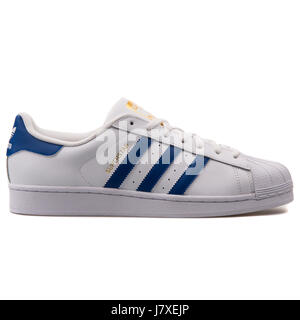 Adidas Superstar Foundation Men's Leather White with Blue Sneakers - B27141 - Stock Photo