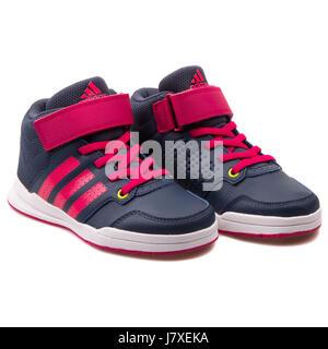 Adidas Jan BS 2 mid C Kids Dark Blue Sneakers With Three Pink Stripes -  B23908