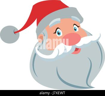 santa clause face with beard and hat. cartoon christmas character cute father frost vector illustration - Stock Photo