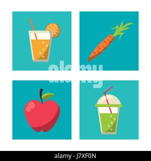 multicolored square buttons set of healthy fruits and beverages - Stock Photo